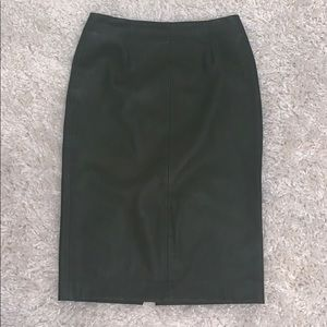 ZARA olive green leather skirt